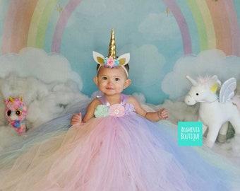 Girls flowergirl unicorn tutu dress, lilac, blue, mint, pink, peach, flowers & ribbon. Birthday Cakesmash.Extra fluffy. Fairy costume.