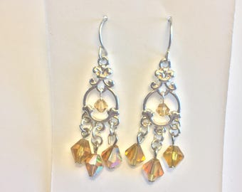 Dangle  Earrings with Gold-colored Crystals