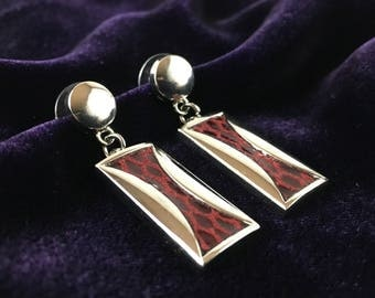 Vintage 90's Red & Silver Rectangle Snakeskin Dangle Earrings