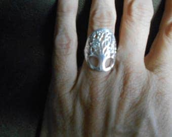 Silver tone tree of life ring