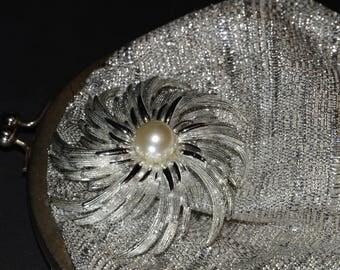 Vintage GOLDCO Purse, Silver fabric Handbag & silver tone pinwheel Brooch, pin, Hong Kong, Wedding purse, Prom, graduation, wedding purse