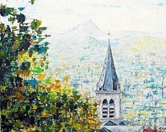 """Knife - painting """"Church of Authezat - Puy de Dome en Auvergne"""" - France-"""