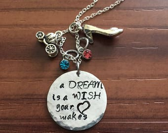 Cinderella Handstamped Charm Necklace| Hammered Silver Dream is a Wish Necklace| Disney Inspired Silver Plated Crystal Necklace