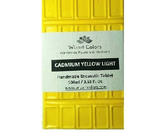 Encaustic Cadmium Yellow Light Tablet Wax Paint made of beeswax and best damar resin