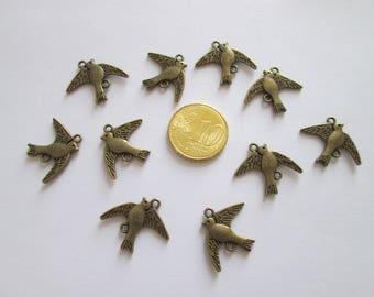 10 connecteurs oiseau métal couleur bronze 21 x17 mm
