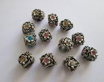 12 perles en métal argenté et strass 10 x 9 mm trou 5 mm