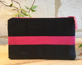 Black and pink cotton and faux leather pouch.
