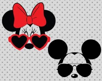 Minnie SVG, dxf, png, eps, minnie mickey head svg, minnie sunglasses svg, mickey svg, bow cricut, minnie clipart