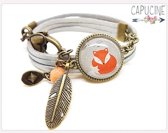 Fox Bracelet - Glass dome Bracelet - Silver et bronze Bangle - Charms Bracelet - bracelet with fox glass dome