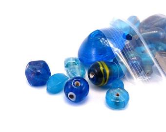 Assortment of blue glass beads
