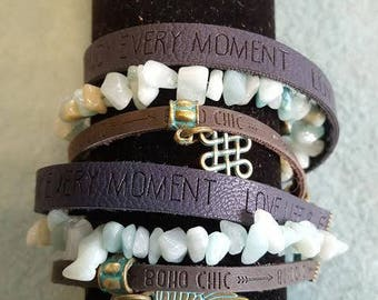 Bohemian wrap bracelet with turquoise