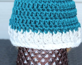 Teal baby hat