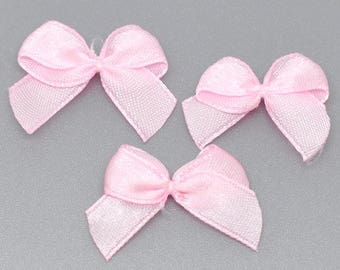 x 20 small bowties pink polyester sewing/craft 25 x 20 mm