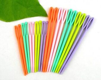 knitting needles x 10 mixed multicolor plastic 7/9.5 cm