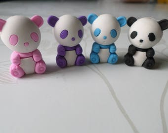 x 4 mixed erasers fancy little pandas