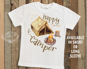 Rustic Happy Camper Kids Shirt, Kids Camping Shirt, Boy Outfit, Little Boy Shirt, Cute Boys Shirt, Boho Boys Shirt, Boys Tees - T369H