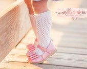 Baby Girl Cable Knit Ruffle Knee High Socks. Fits Infant and Toddler Girls. 2 Colors
