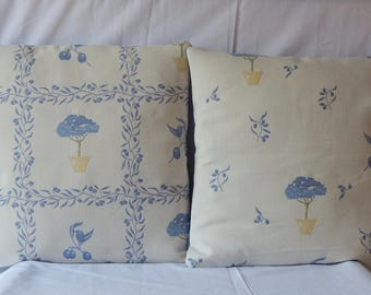 "matching ""Garden of EDEN"" blue duo cushion covers for cushions 40 * 40"