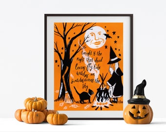 Halloween decorations// Poem Tonight is the Night// Halloween Witch and Cat // Harry Behn Poem// Halloween Decor