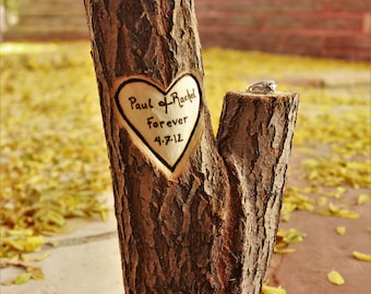 Hand carved personalized wood carving, 5 year anniversary gift, rustic centerpiece perfect for weddings