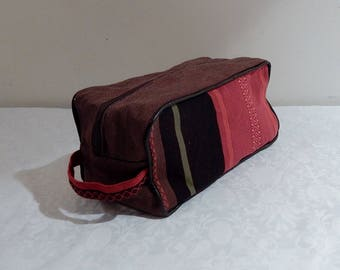 Roomy Toiletry Kit canvas basque red brown tones, faux leather piping and waterproof laminated cotton Interior