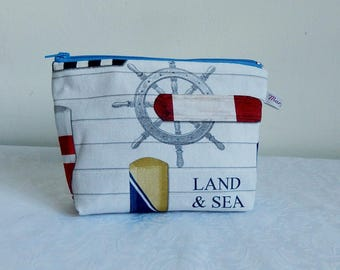 "Kit multifunction ""rudder and paddles"" marine and nautical theme fabric, waterproof Burgundy coated cotton lining"