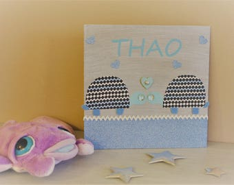 Personalised table name for child's room, turtle fabric