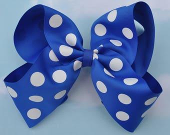 Blue Polka Dot Large JoJo Style  Hair Bow