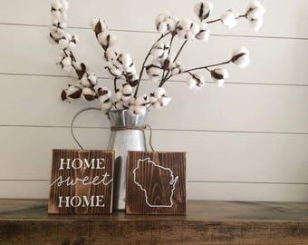 Home Sweet Home Custom state wood signs