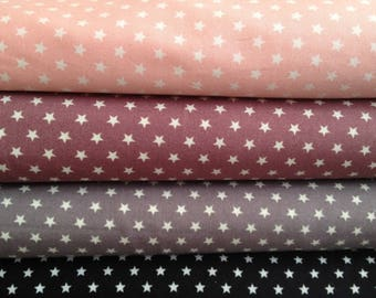 Grey 100% cotton fabric with white stars with 6 mm