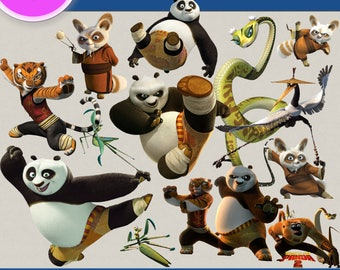 KUNG FU PANDA clipart png images, Digital Cliparts, Stickers, Decals, Png file, Transparent Backgrounds, digital print, printable images