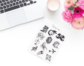 Drawn Zodiac Stickerset-watercolour sticker-Pretty planning-scrapbooking-bullet journaling