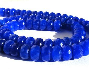 8 saphirs Abacus à facette de 8x5 mm perle pierre bleu.