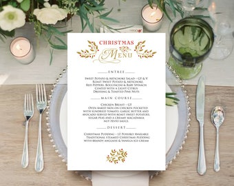 Rustic Printable Menu Gold & Red Wedding Menu Cards Christmas Menu Winter Party Menu Template Holiday Menu Christmas Dinner Editable Menu