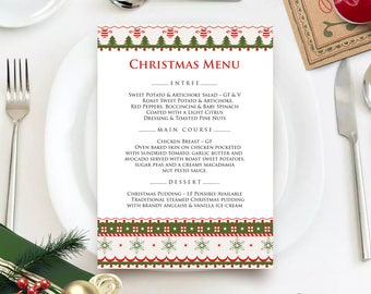 Christmas Menu Printable Menu Cards Template Winter Holiday Dinner Menu Xmas Menu Snowflakes Trees Christmas Party Menu Green & Red Editable