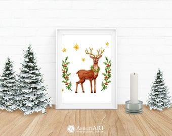 Christmas Deer Art Woodland Deer Printable Decor Watercolour Christmas Stars Holly Wreath Christmas Art Print Winter Decor Digital Download
