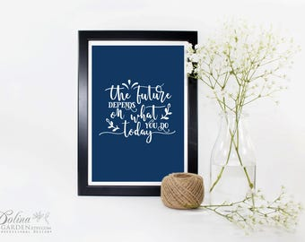 Modern Calligraphy Print Gandhi Quote Printable Wall Art Inspirational Quote Print Graduation Gift Navy Blue Decor Education Digital Prints