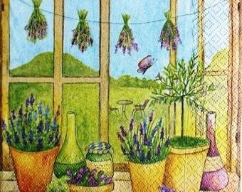 PAPER NAPKIN Lavender #F040 window