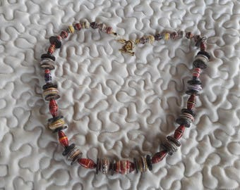 multicolored paper Bead Necklace