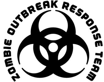 "Zombie Outbreak Response Team Decal, 4.25""x 3.5"", decal for car, laptop, coffee Tumbler, water bottle, biohazard, zombie hunter,"