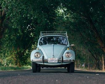 Old Volkswagen Beetle Car Art Print Wall Decor Image Self-Adhesive - Wallpaper Sticker