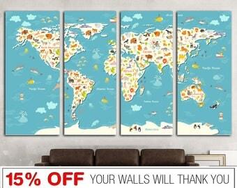 Nursery world map etsy word map canvas world map kids world map nursery world map world sciox Choice Image