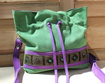 "Leather bag Green and purple collection ""Ama"""