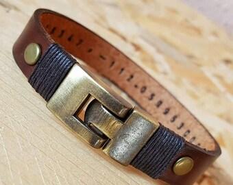 Gift for boyfriend Personalized Gift for Man Gift for Men Leather Bracelet Leather Man Bracelet Hidden Message Bracelet