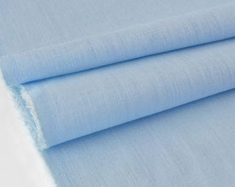 Cotton fabric and linen pale blue soft dobby x 50cm