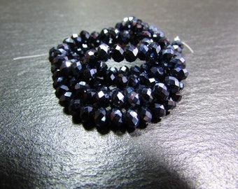 set of 30 dark grey Crystal iridescent 4 mm beads