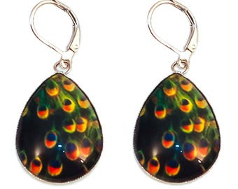 Cabochon drop earrings * orange and green Peacock feather *.