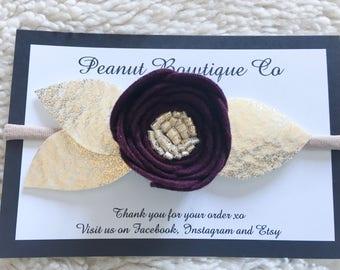 Burgundy Floral Headband