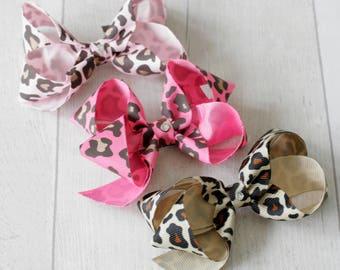 Set of 3 Hair Bows with SWAROVSKI ELEMENTS (Animal Print)