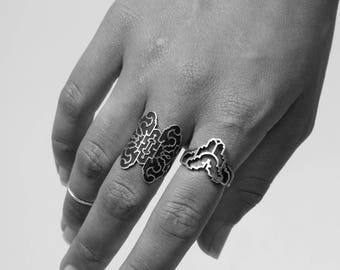 geometric silver ring.
